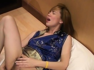 Hot shemale toying her butthole