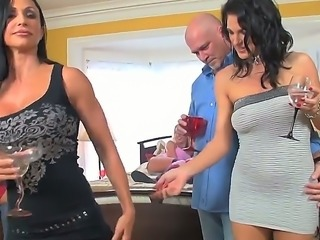 Couple of guys got together with their hot wives who have stunning bodies and...