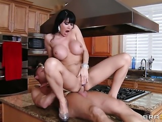 Eva Karera with massive tits gets her back yard trained by sturdy meat stick...