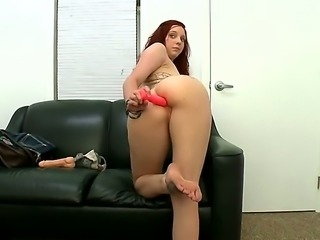 Naked redhead next door Ginger Maxx with bubbly as and sexy natural boobs toy...