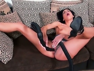 Solo girl Aliz inserts black hose in her pink pussy and then in her flexy...