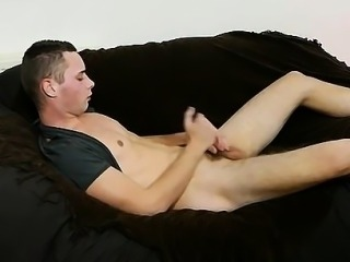 Sexy twink Aiden enjoying his own hard uncut cock at home