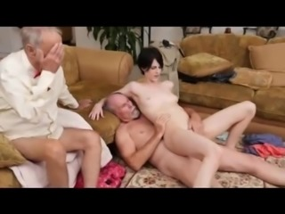 Super hot girl anal fuck with 2 grandpas