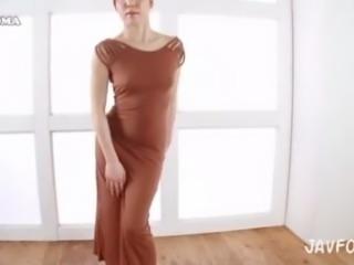Asian in brown dress Big Booty Teasing Japanese