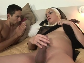 Two trannys dressed as nuns have threesome with a dude