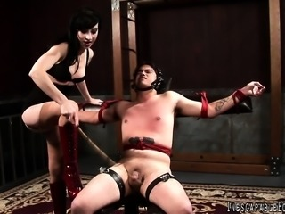 Horny young dominatrix gets turned on and punishes a sexy dude