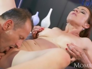 MOM Horny housewife sucks her husbands cock dry after 69