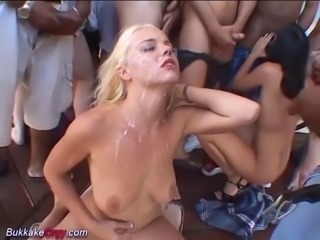 extreme wild bukkake blowjob deepthroat orgy with horny party girls...