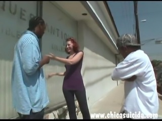 Hot redhead got her pussy stretched by two fat black cocks