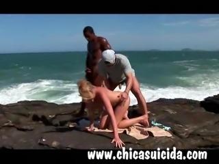 Sizzling hot blonde tourist got DP by Brazilian studs