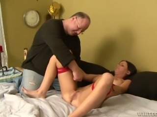 Old man bought sex machine to satisfy his young busty wife