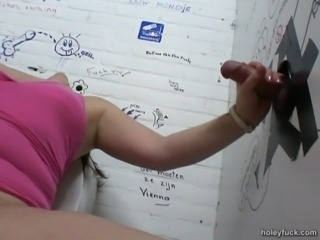 A chubby girl gobbles down that cock in a gloryhole