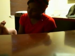 Hidden camera caught a black secretary wank off her boss