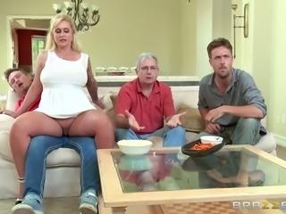 Horny tattooed MILF in sexy white mini dress sucks big cock at kitchen