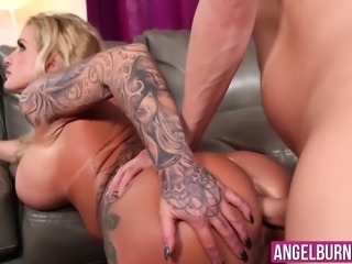 Blonde MILF with massive tits wants young cock inside her