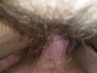 Fucking fat hairy white trash wifes pussy with creampie