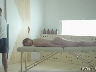 18 Virgin Sex - Karolin first time was on the massage table