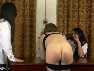 Lesbian slave spanking - 1
