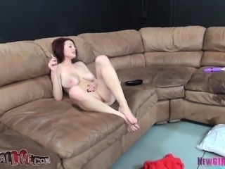 Buxom redhead Jessica Robbin enjoys the sybian and fucks a stiff dick