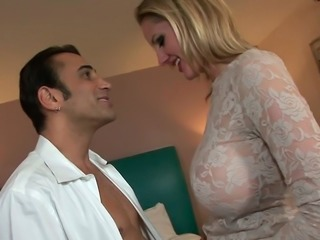 Gorgeous busty milf Zoe gets her anus polished