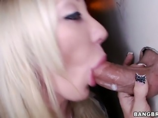 Irresistible blonde bitch Amy Brooke fucked through glory hole in the toilet