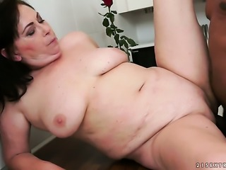 Mature with massive hooters and her man are so fucking horny in interracial...