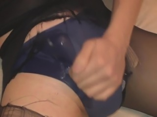 Masturbation in pantyhose and blue panties after work