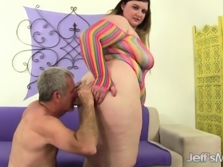 Luscious plumper with a massive booty fucks a hard pole with intensity