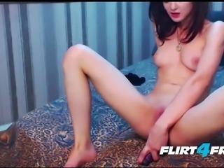 Petite Babe Peels Off Her Black Lingerie and Fucks a Dildo