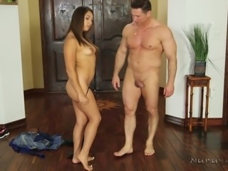 Raven haired sweet bitch in sexy nightie Sara Luvv met horny stud with erotic...