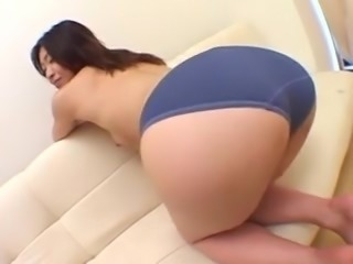 Big booty japanese babe in blue panties