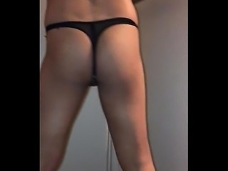 Trying thongs on