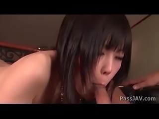 Curvaceous Asian Hiraku Kurameki rides on a shaft