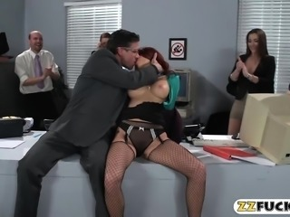 Busty redhead woman gets her anal fucked in the office