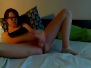 Dirty talking girl fucks big dildo