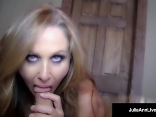 Hottest MILF Julia Ann Blows A Cock & Gets Load On Her Face!