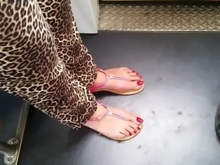 perfect turkish feet wiht very long red toenails