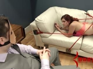 Hazel gets humiliated & fucked by masked guy in bondage fetish vid