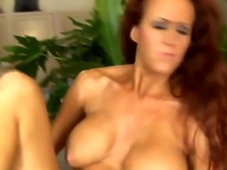 Redhead cougar gets shaved cunt roughly banged