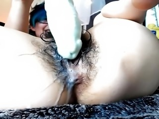 very hairy cam whore dragon dildo penetration
