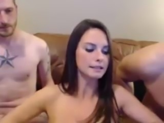 Girl Blows Two Cocks