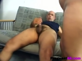 Pregnant amateur chick riding stiff rod on couch