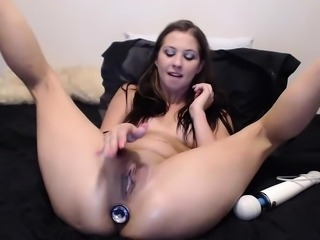 Anal masturbation webcam girl dildo fucks herself