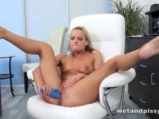 Toy addicted auburn hottie Victoria Pure goes nuts while pissing