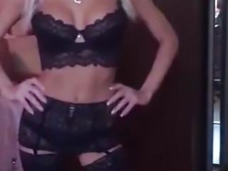tall skinny sexy milf in black lingerie