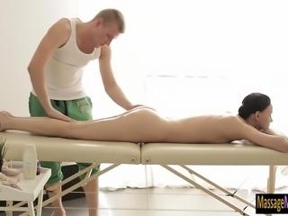 Hot brunette client Artemida fucked by her pervert masseur