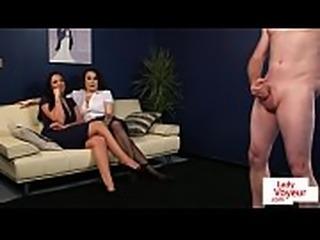 CFNM fetish babes dominate naked guy
