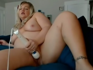Extremely fat perverted light haired fatty masturbates with vibrator
