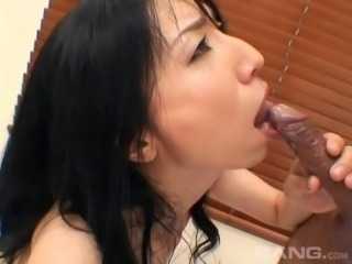A big cum load finishes first in her mouth after a blowjob
