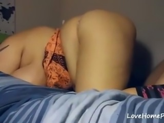 Horny chubby wife gets banged from behind hard and gets cummed in her pussy